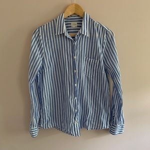 J.Crew Factory Blue and White stripe top